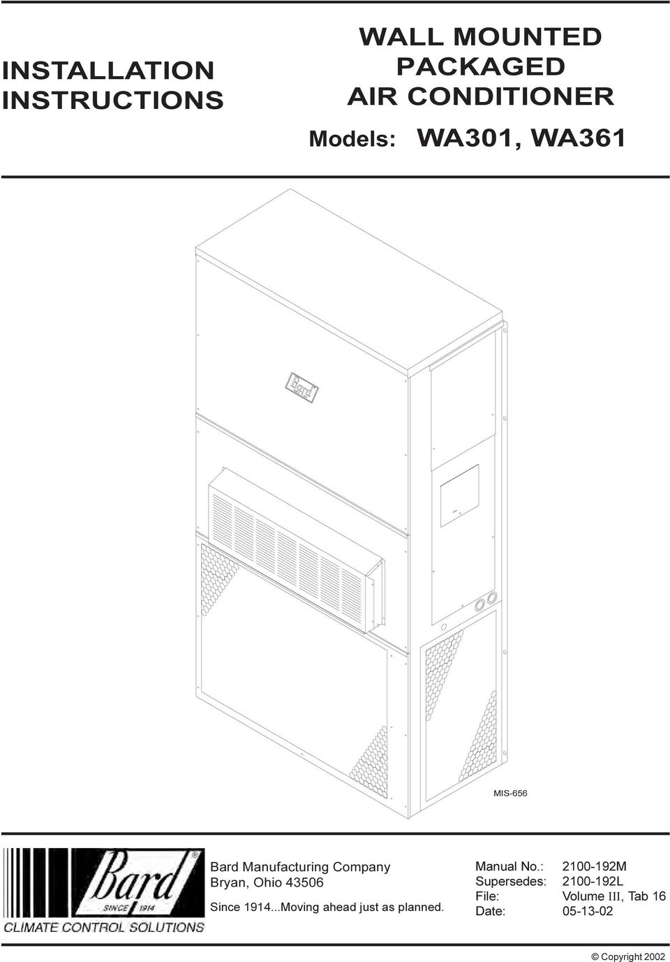 Wall Mounted Packaged Air Conditioner Installation Instructions Bard Wiring Diagrams 43506 Since 94moving Ahead Just As Planned Manual No