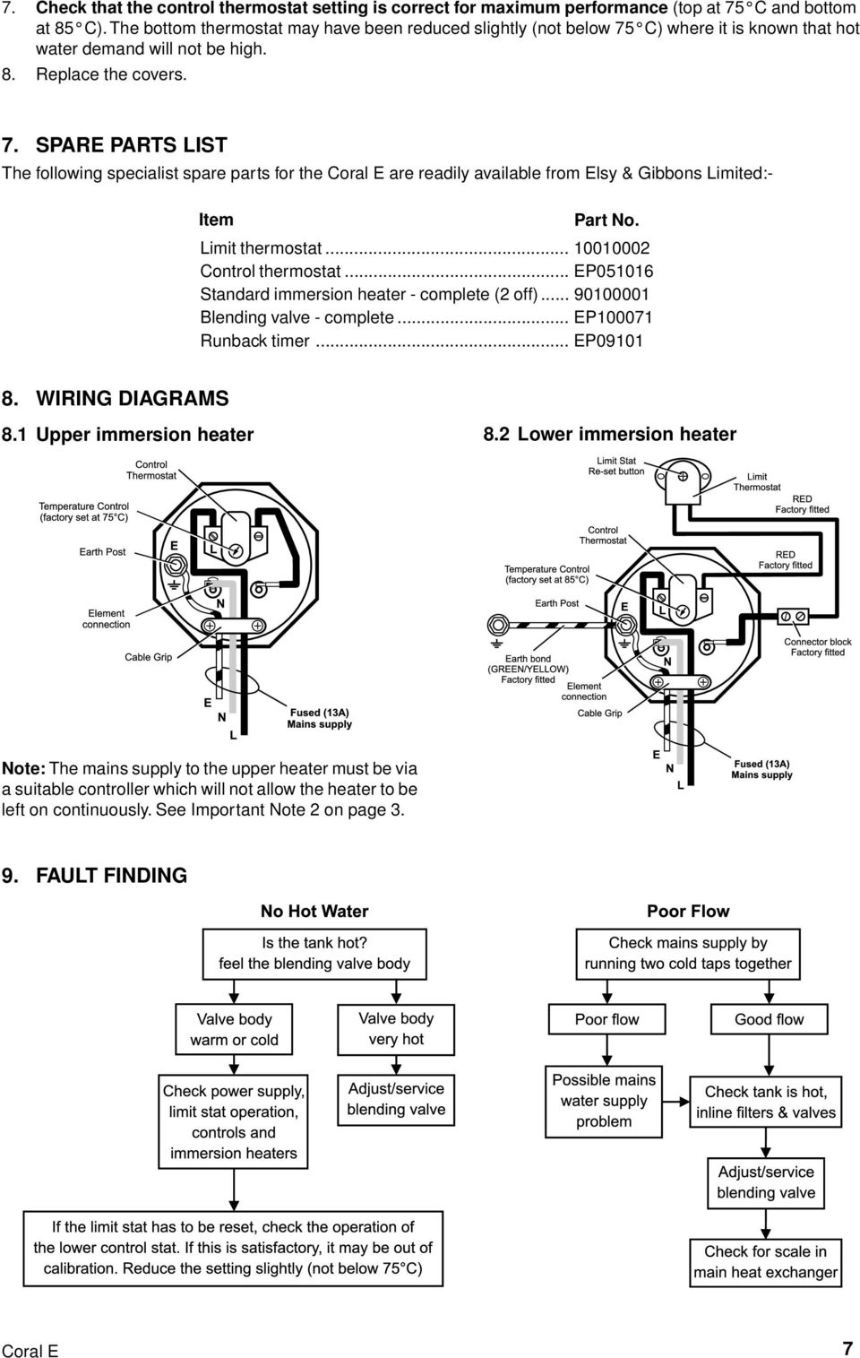 Elson Coral E Open Vented Thermal Store Providing Mains Pressure Wiring Diagram Immersion Heater Limit Thermostat 10010002 Control Ep051016 Standard Complete