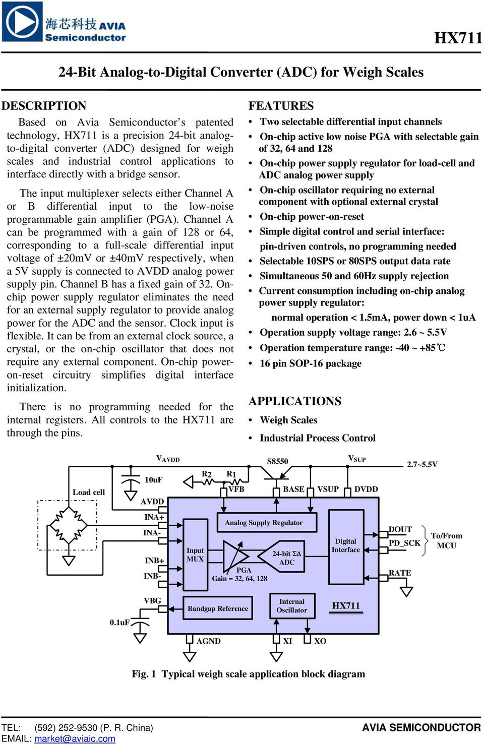 24 Bit Analog To Digital Converter Adc For Weigh Scales Features Connected Measure Ratiometric Values Of Quad Load Cells The Input Multiplexer Selects Either Channel A Or B Differential Low Noise