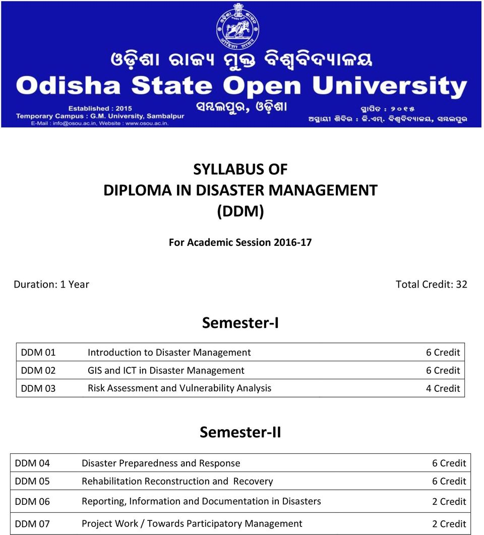Bps Disaster Management Strategy >> Syllabus Of Diploma In Disaster Management Ddm Semester I