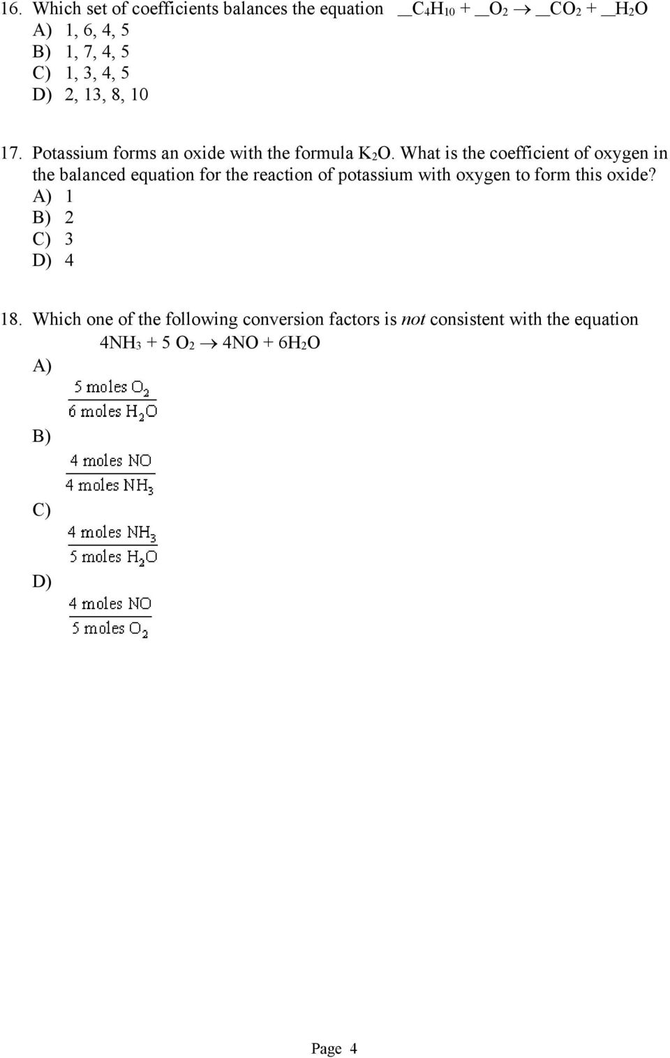 What is the coefficient of oxygen in the balanced equation for the reaction of potassium with oxygen to form
