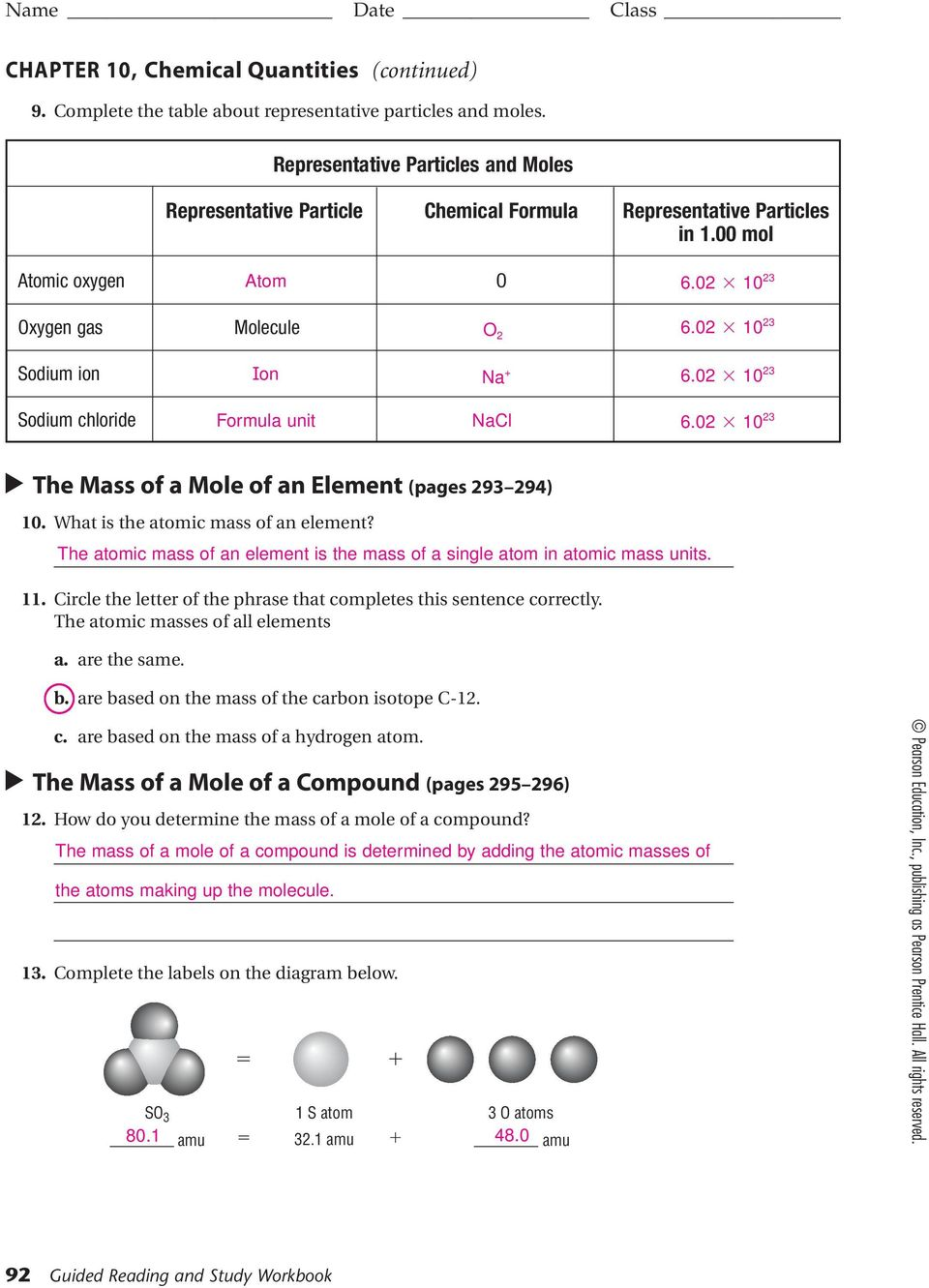 Name Date Class CHEMICAL QUANTITIES  SECTION 10 1 THE MOLE