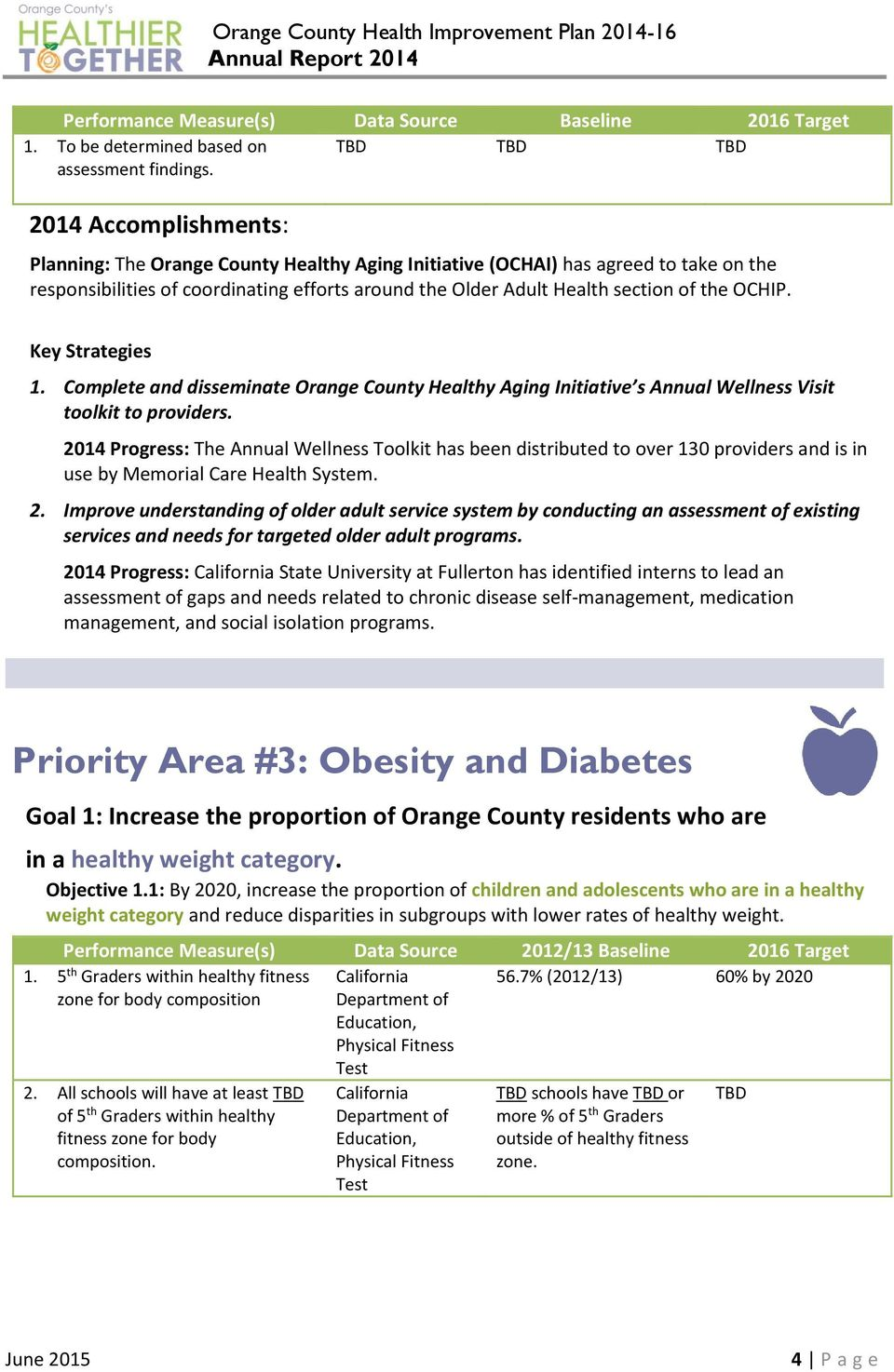 Complete and disseminate Orange County Healthy Aging Initiative s Annual Wellness Visit toolkit to providers.