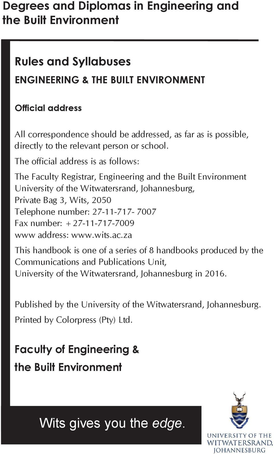 Wits Gives You The Edge Pdf