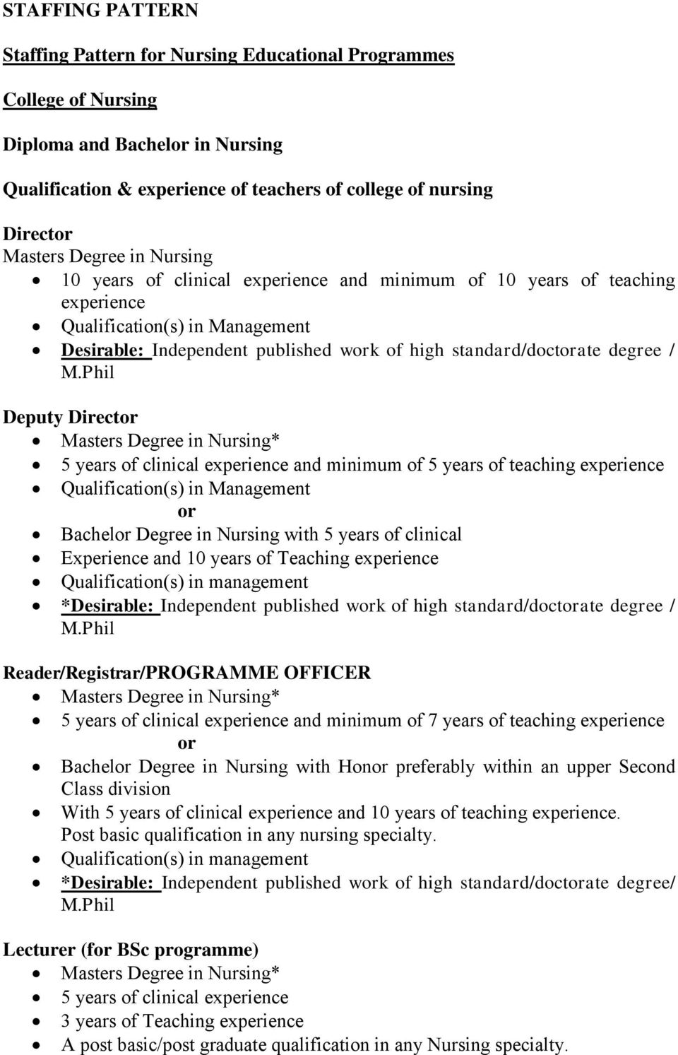 MPhil Deputy Director Masters Degree In Nursing 5 Years Of Clinical Experience