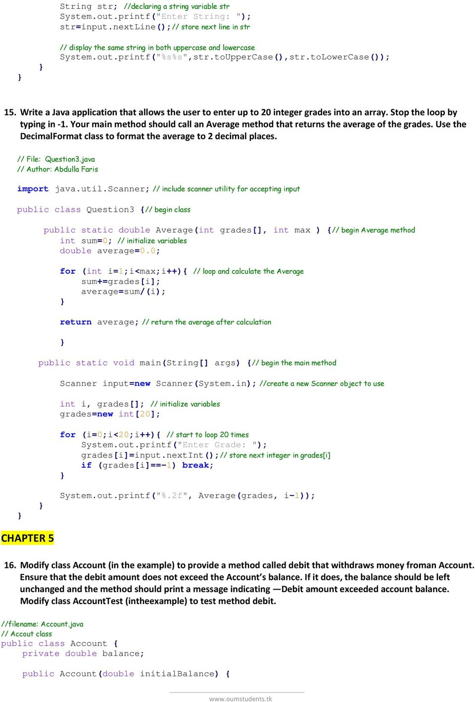 OBJECT ORIENTED PROGRAMMING IN JAVA EXERCISES - PDF
