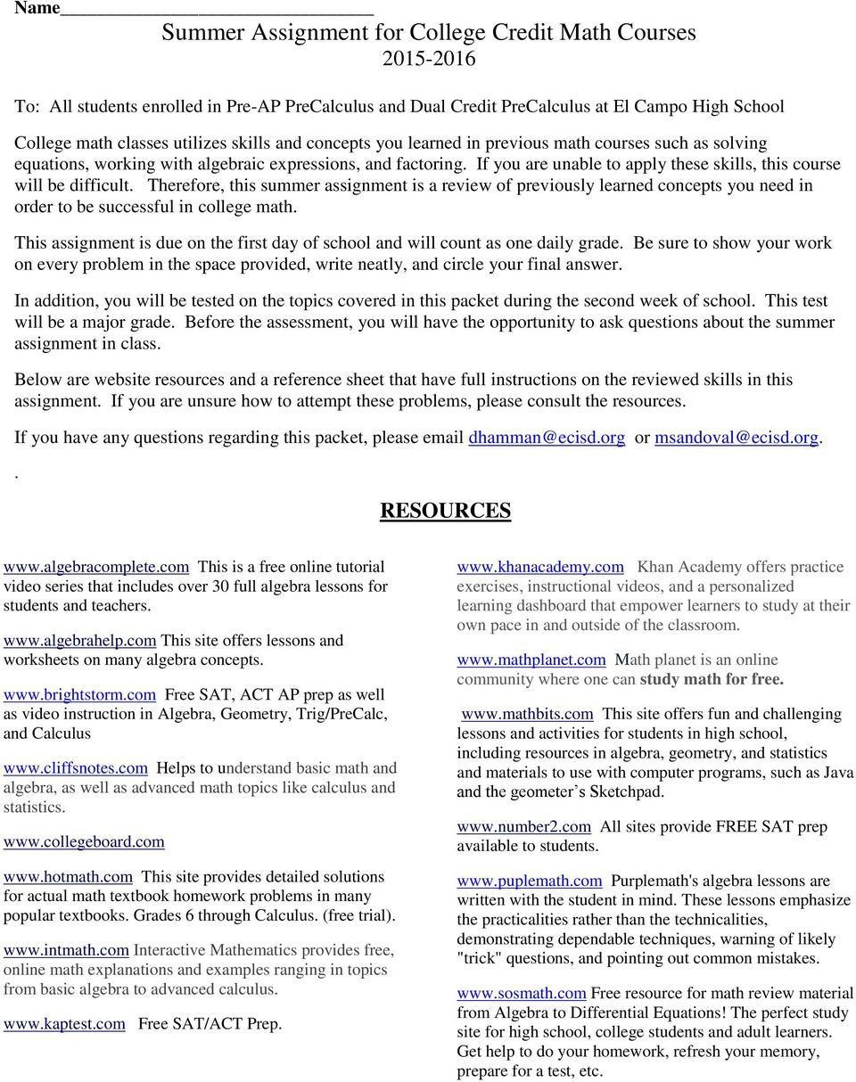 Name Summer Assignment for College Credit Math Courses - PDF