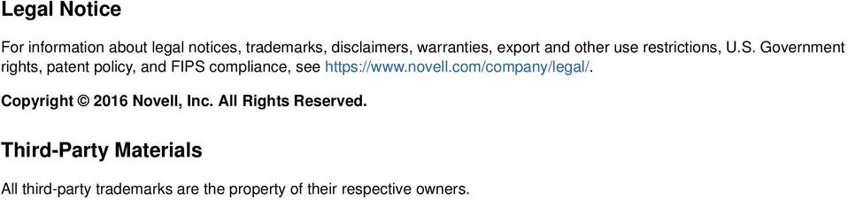 Government rights, patent policy, and FIPS compliance, see https://www.novell.