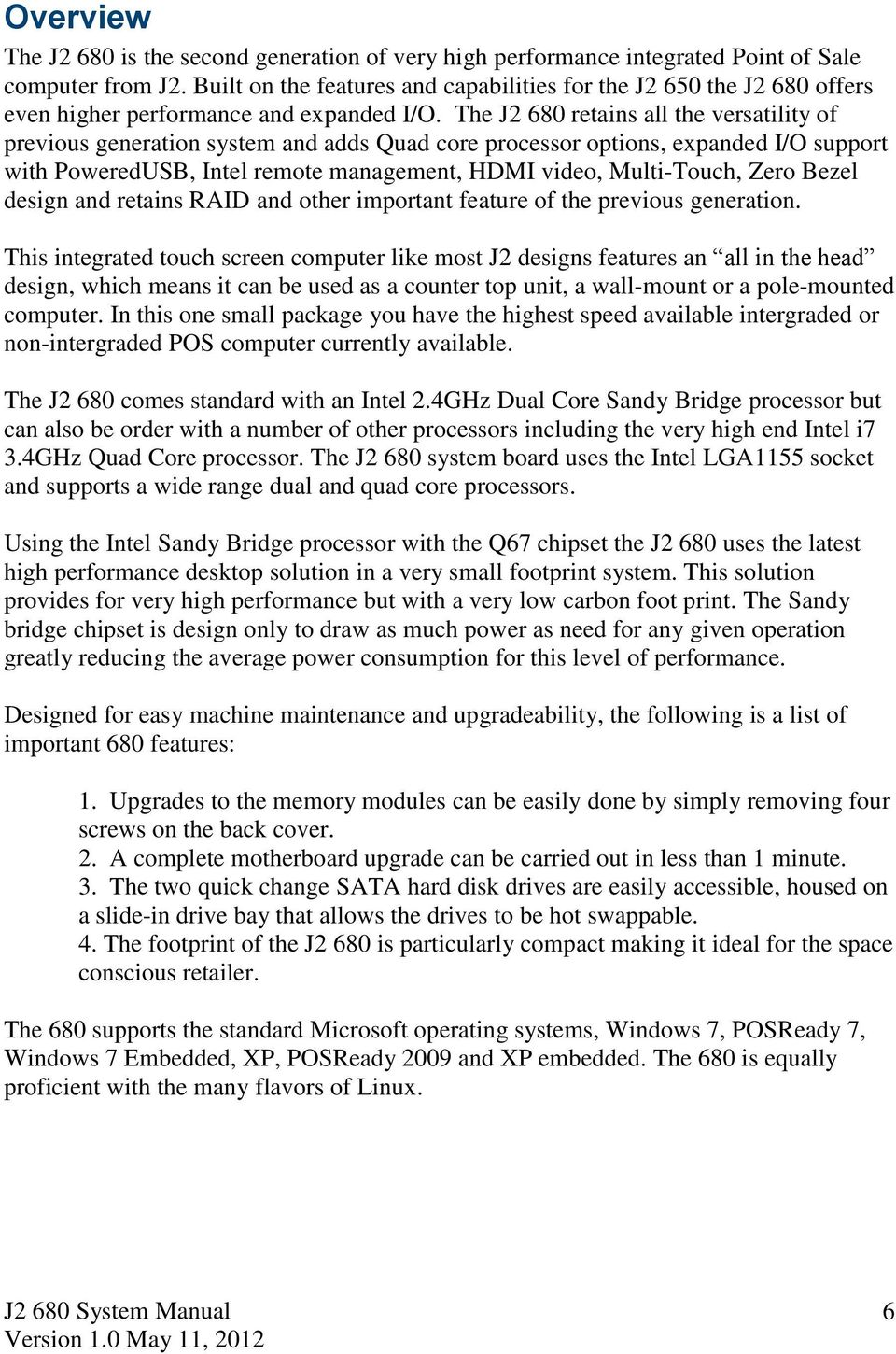 J2 680 Integrated Touchscreen Computer  System Manual - PDF