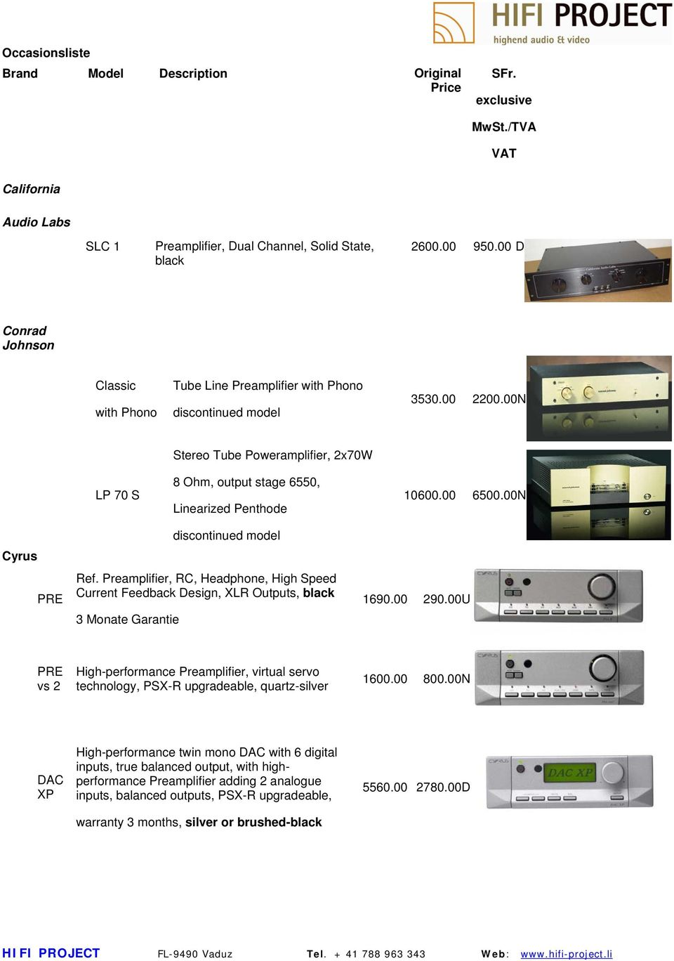 Preamplifier, Dual Channel, Solid State, black  Tube Line
