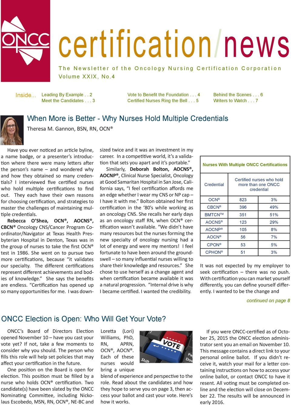 The Newsletter Of The Oncology Nursing Certification Corporation