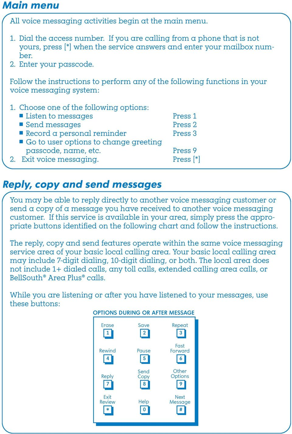 Follow the instructions to perform any of the following functions in your voice messaging system:.