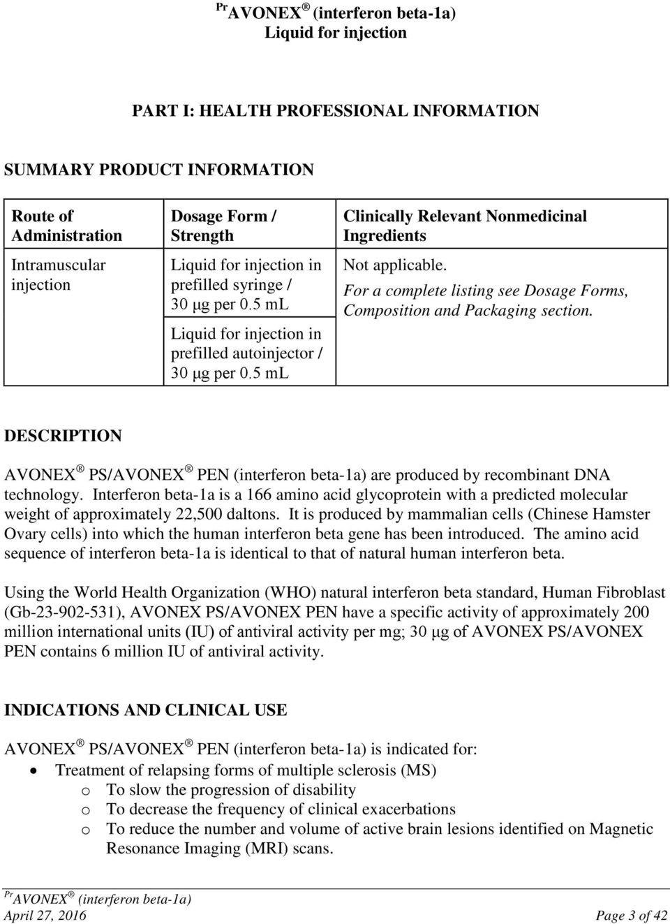 For A Complete Listing See Dosage Forms Composition And Packaging Section Description Avonex Ps