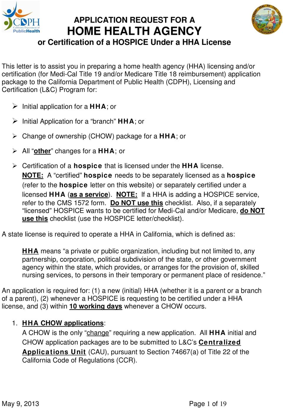 Application Request For A Home Health Agency Or Certification Of A