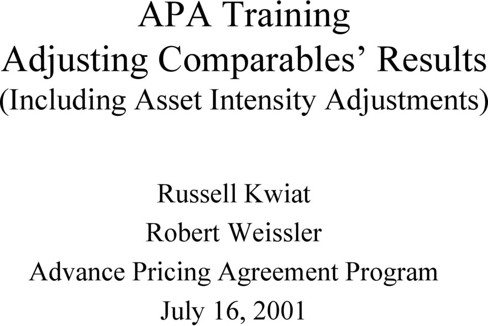 Apa Training Adjusting Comparables Results Including Asset