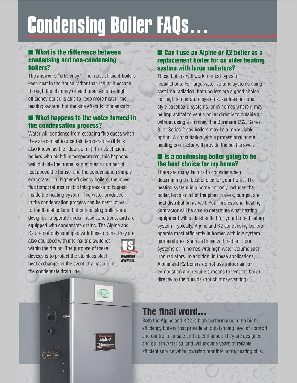 Condensation boiler: pros and cons