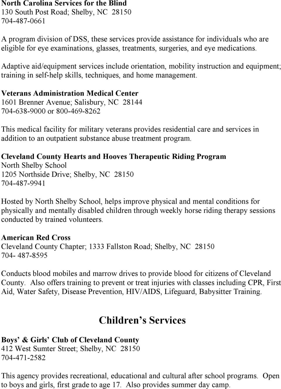 Community Resource Guide for Cleveland County - PDF