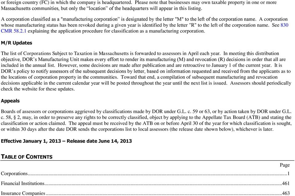 Corporations Subject to Taxation in Massachusetts - PDF