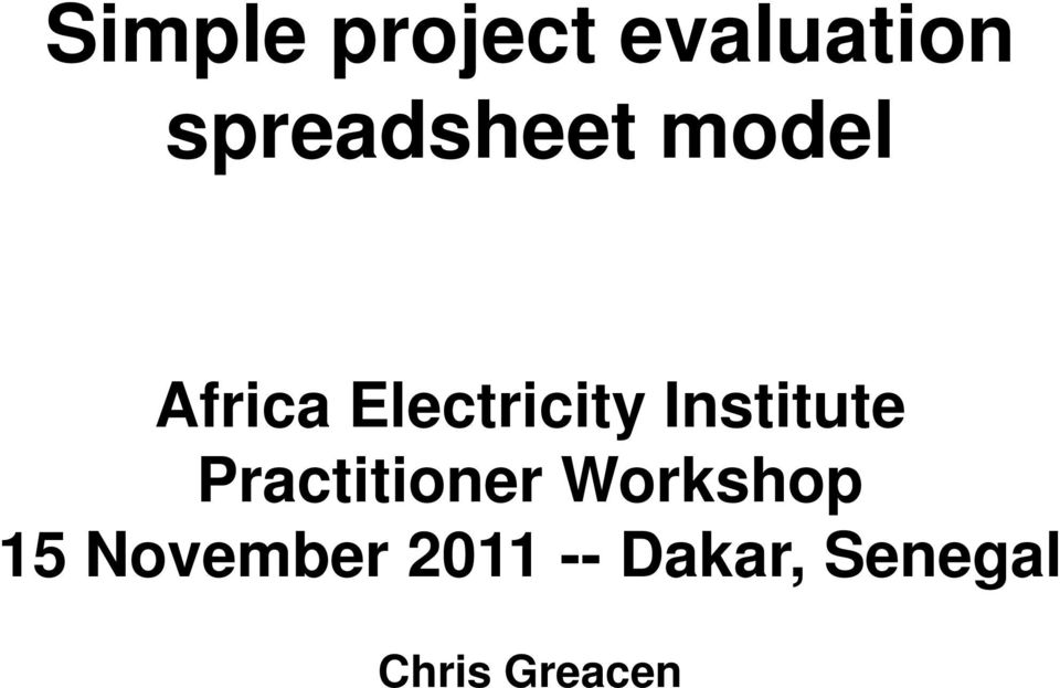 Simple project evaluation spreadsheet model - PDF