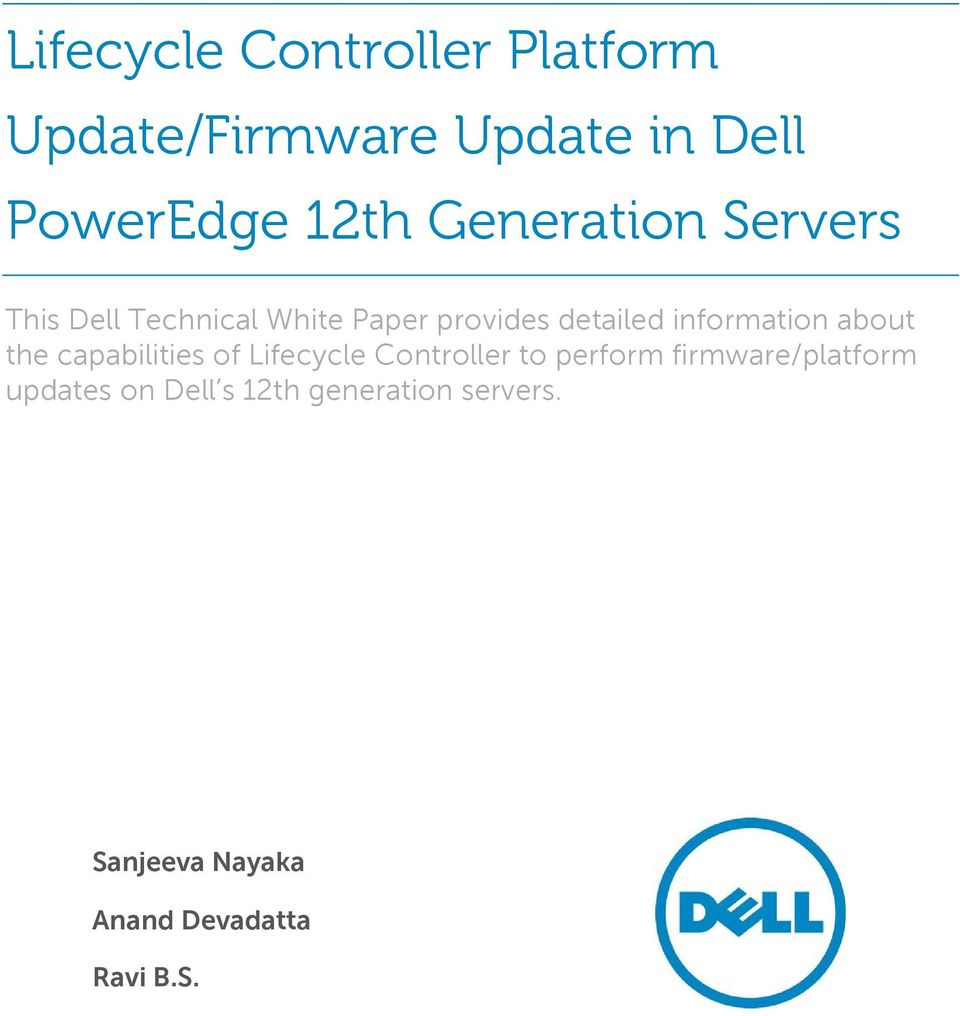 Lifecycle Controller Platform Update/Firmware Update in Dell