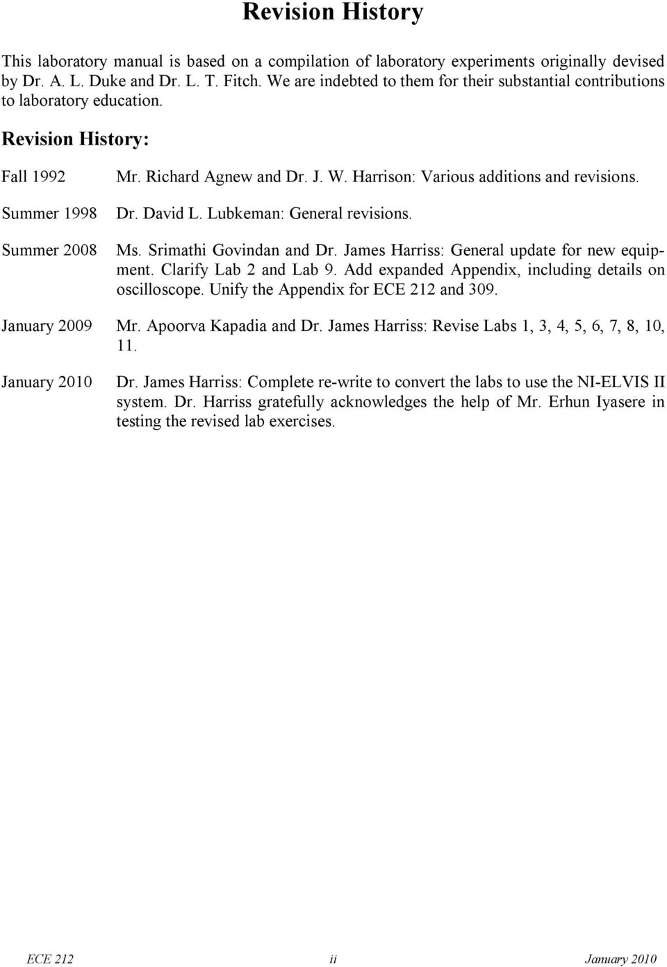 Harrison: Various additions and revisions. Dr. David L. Lubkeman: General  revisions
