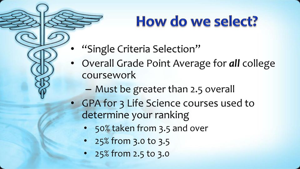 5 overall GPA for 3 Life Science courses used to determine
