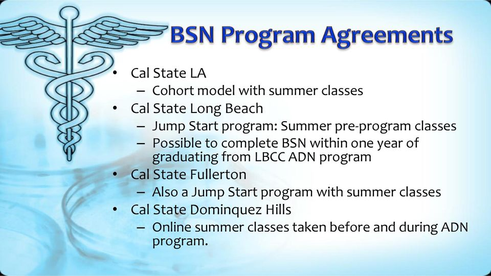 graduating from LBCC ADN program Cal State Fullerton Also a Jump Start program with