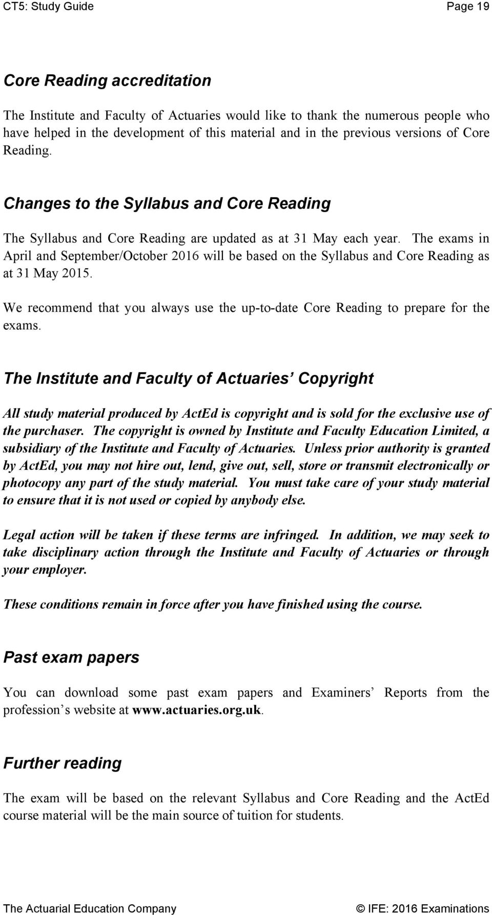 2016 Study Guide  Subject CT5 - PDF