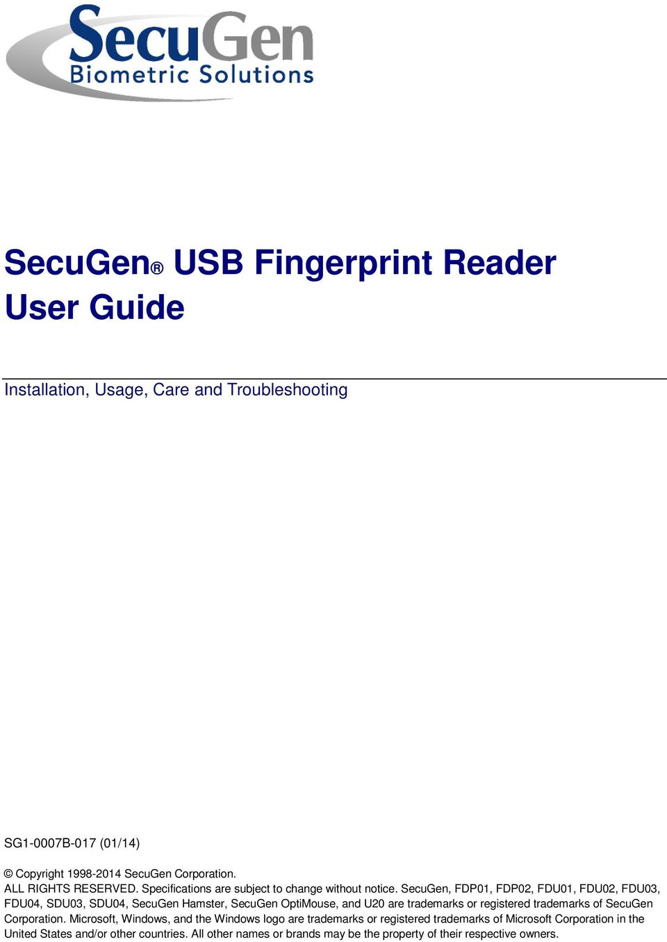 SecuGen USB Fingerprint Reader User Guide - PDF