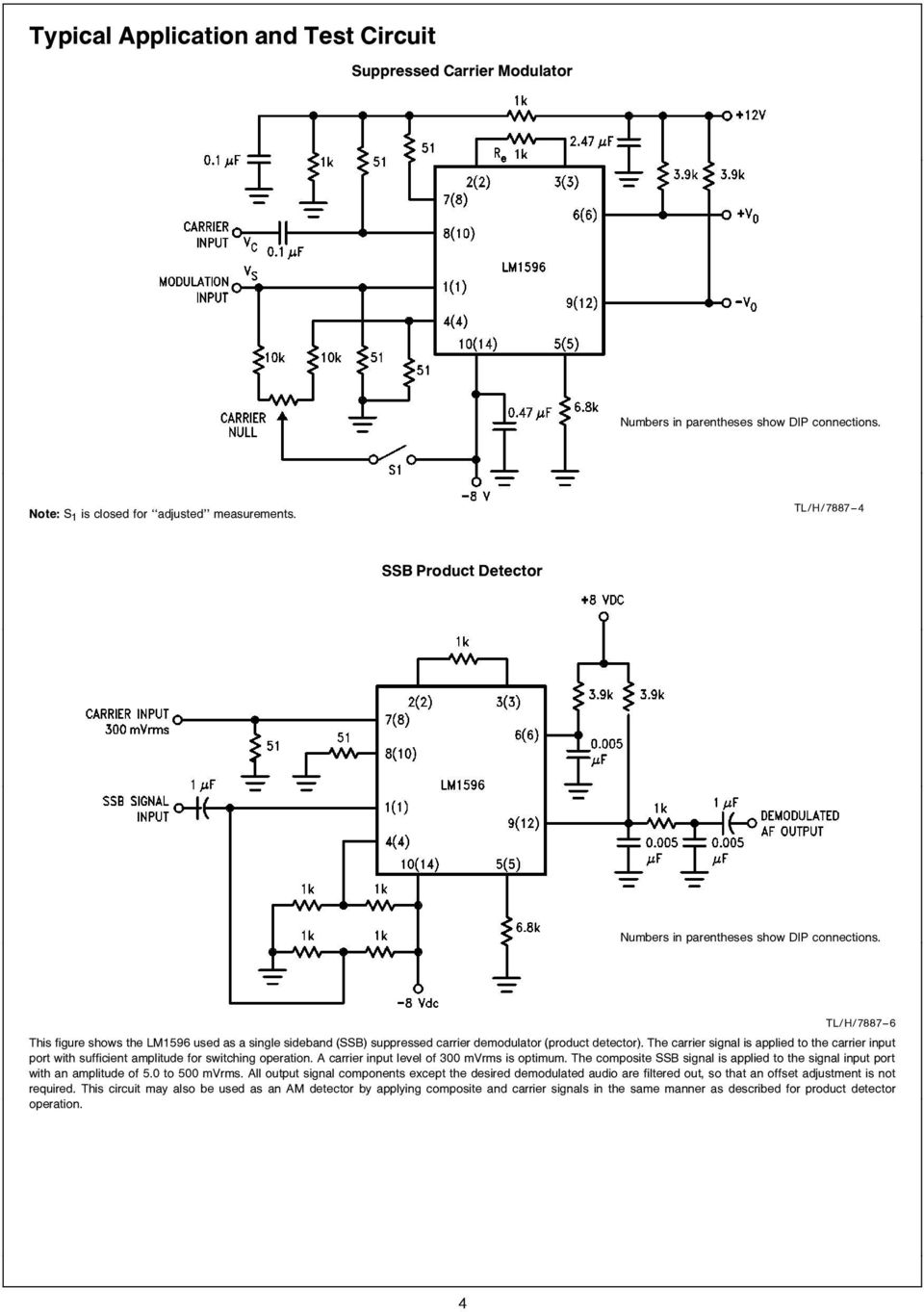 Lm1596 Lm1496 Balanced Modulator Demodulator Pdf Am Modulation And Demodulation Circuit Carrier Input Port With Sufficient Amplitude For Switching Operation A Level Of 300 Mvrms