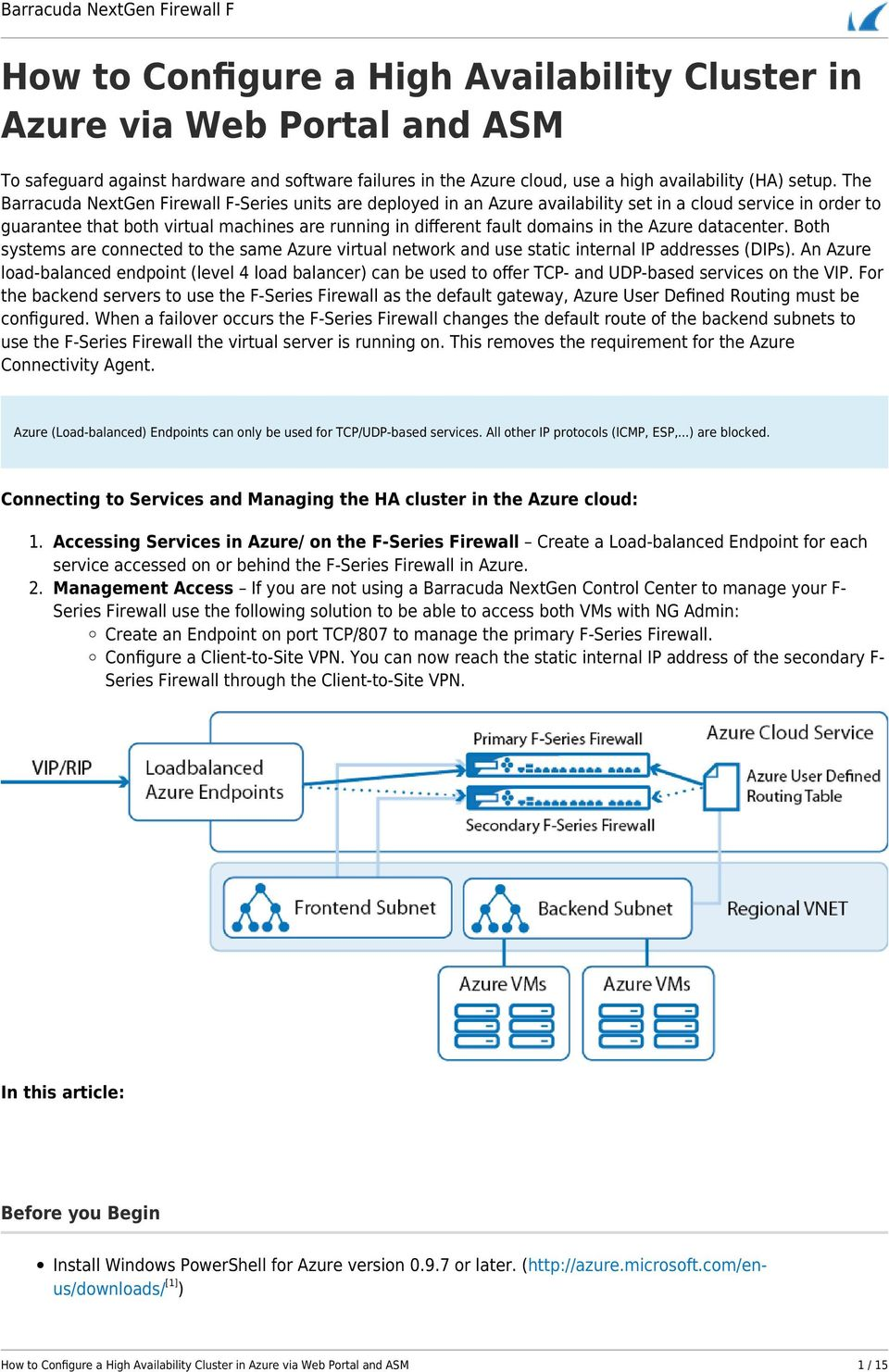 How to Configure a High Availability Cluster in Azure via