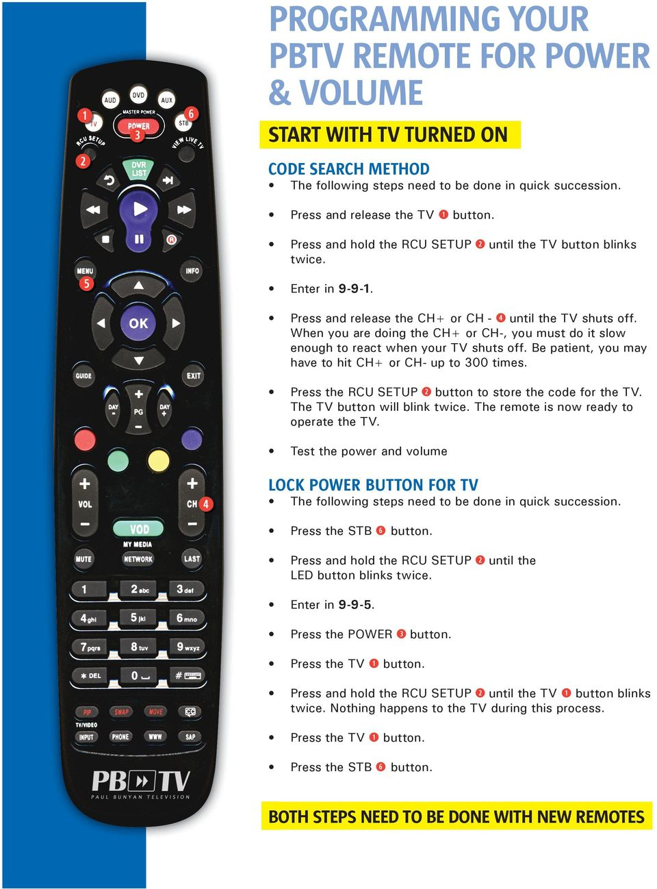 Programming Your Pbtv Remote For Power Volume Pdf