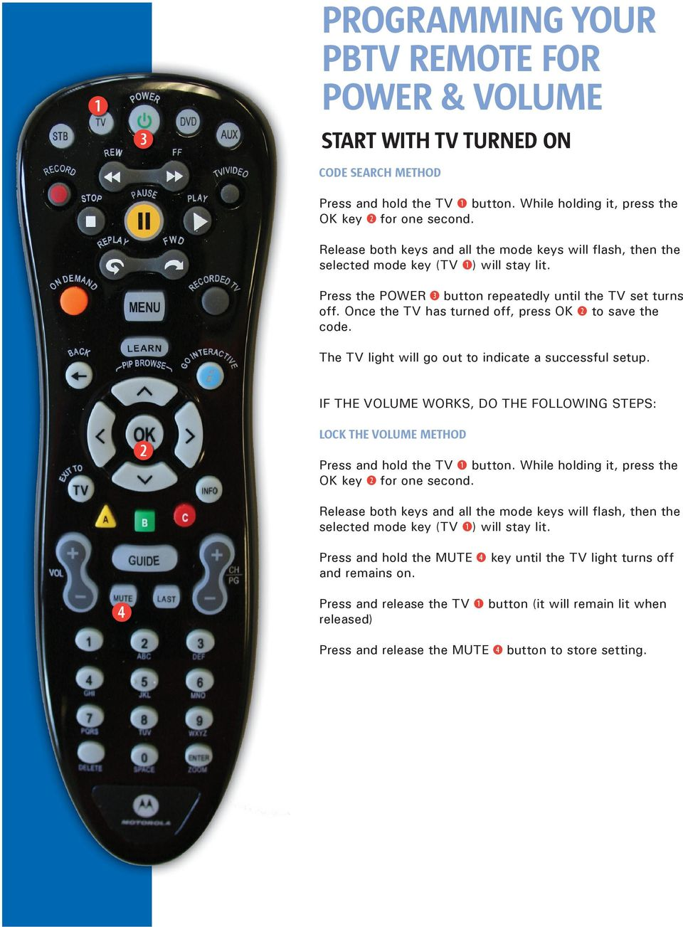 PROGRAMMING YOUR PBTV REMOTE FOR POWER & VOLUME - PDF