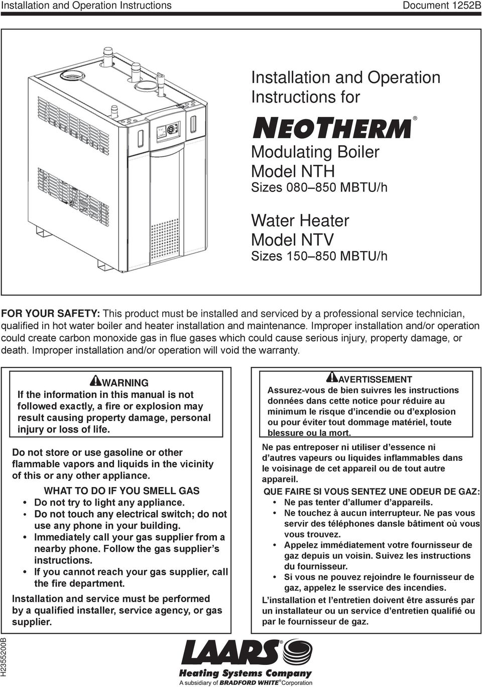 Neotherm Installation And Operation Instructions Modulating Boiler 850 Gas Furnace Schematic Improper Or Could Create Carbon Monoxide In Flue Gases Which