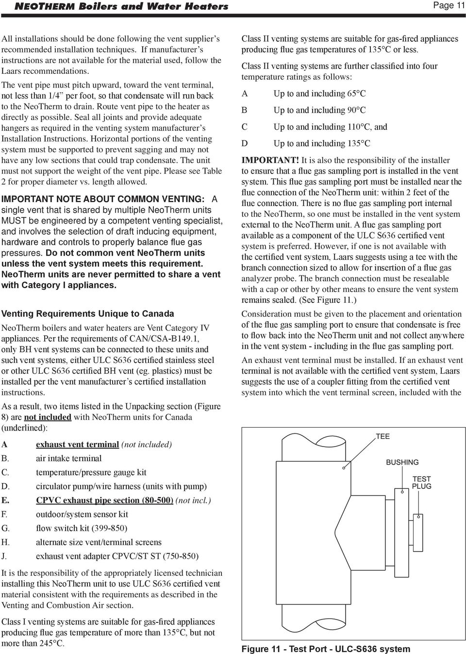 Neotherm Installation And Operation Instructions Modulating Boiler 850 Gas Furnace Schematic The Vent Pipe Must Pitch Upward Toward Terminal Not Less Than 1