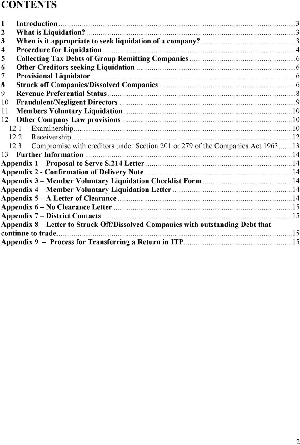 Collection Manual Liquidation of Companies and other Company