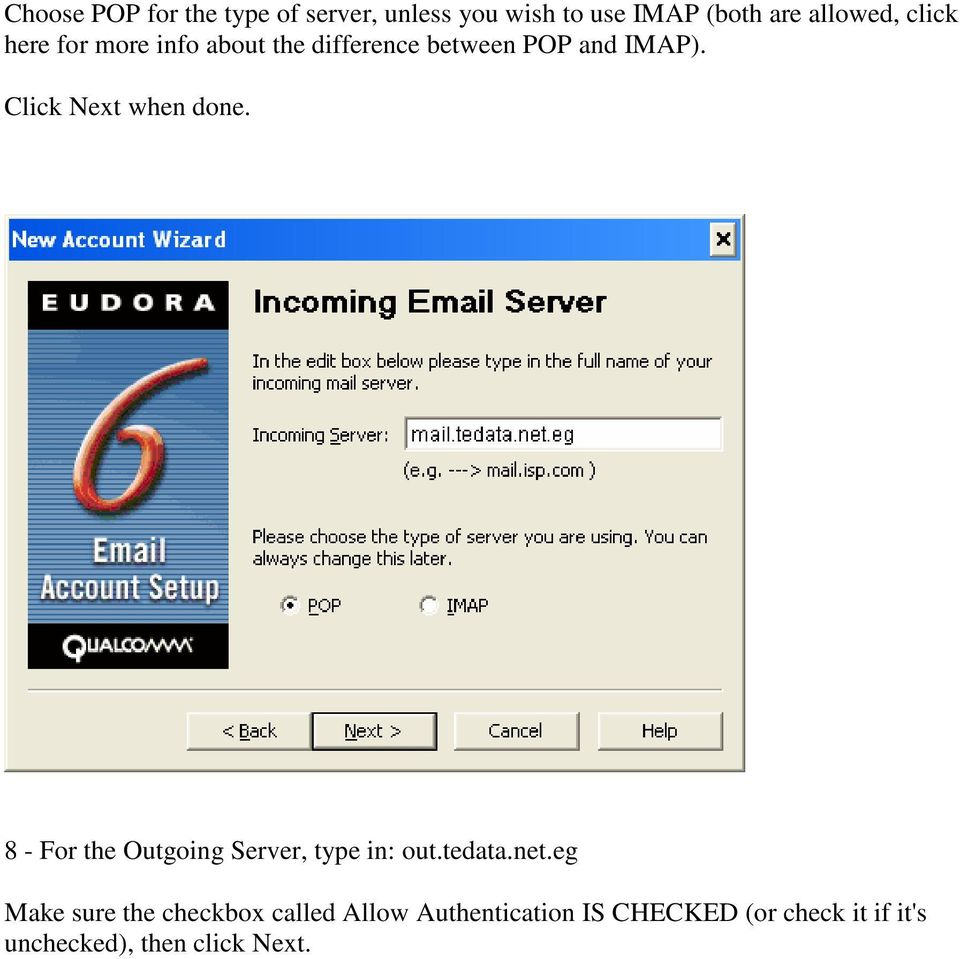 Click Next when done. 8 - For the Outgoing Server, type in: out.tedata.net.