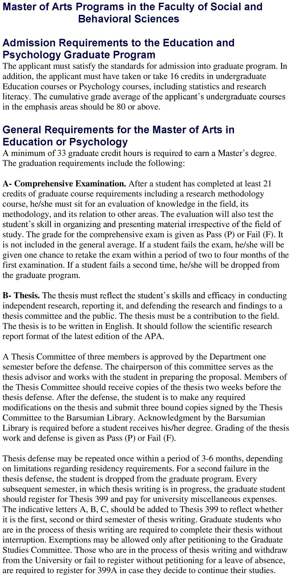 master of arts programs in the faculty of social and behavioral