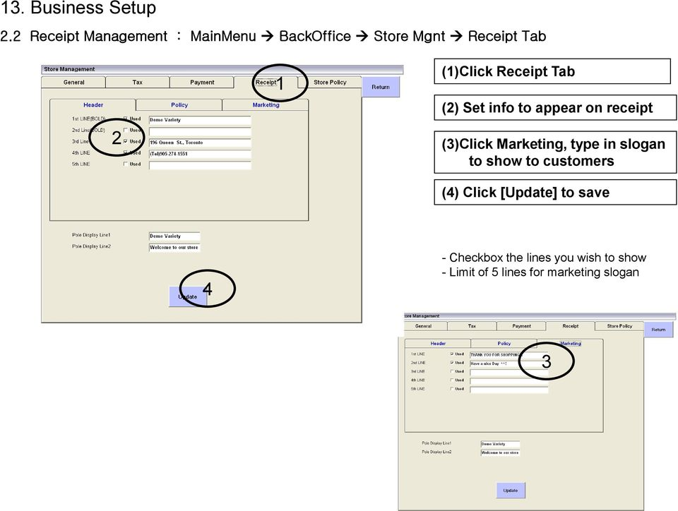 Receipt Tab Set Info To Appear On Click Marketing Type