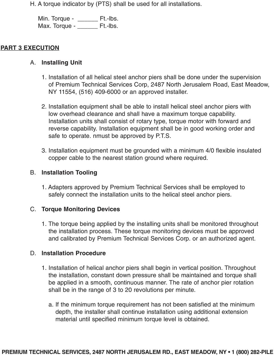PTS HELICAL PIERS INSTALLATION SPECIFICATIONS NOTICE - PDF