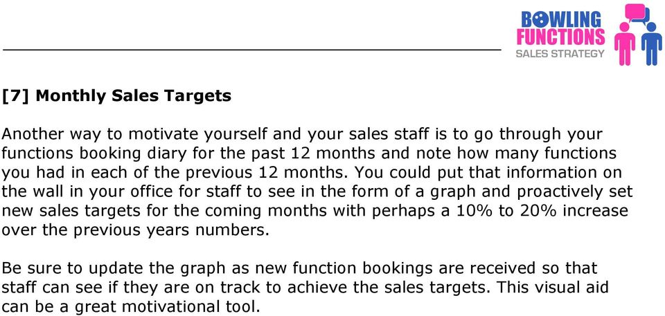 You could put that information on the wall in your office for staff to see in the form of a graph and proactively set new sales targets for the coming months