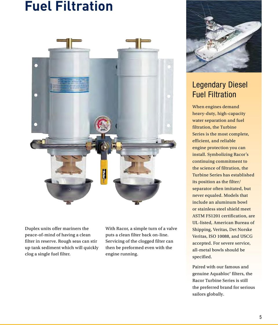 Marine Filtration Systems Pdf Racor Fuel Filter Legendary Diesel When Engines Demand Heavy Duty High Capacity Water Separation