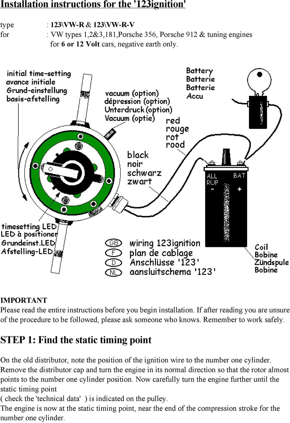 Installation Instructions For The 123ignition Pdf Type 181 Wiring Diagram Step 1 Find Static Timing Point On Old Distributor Note Position