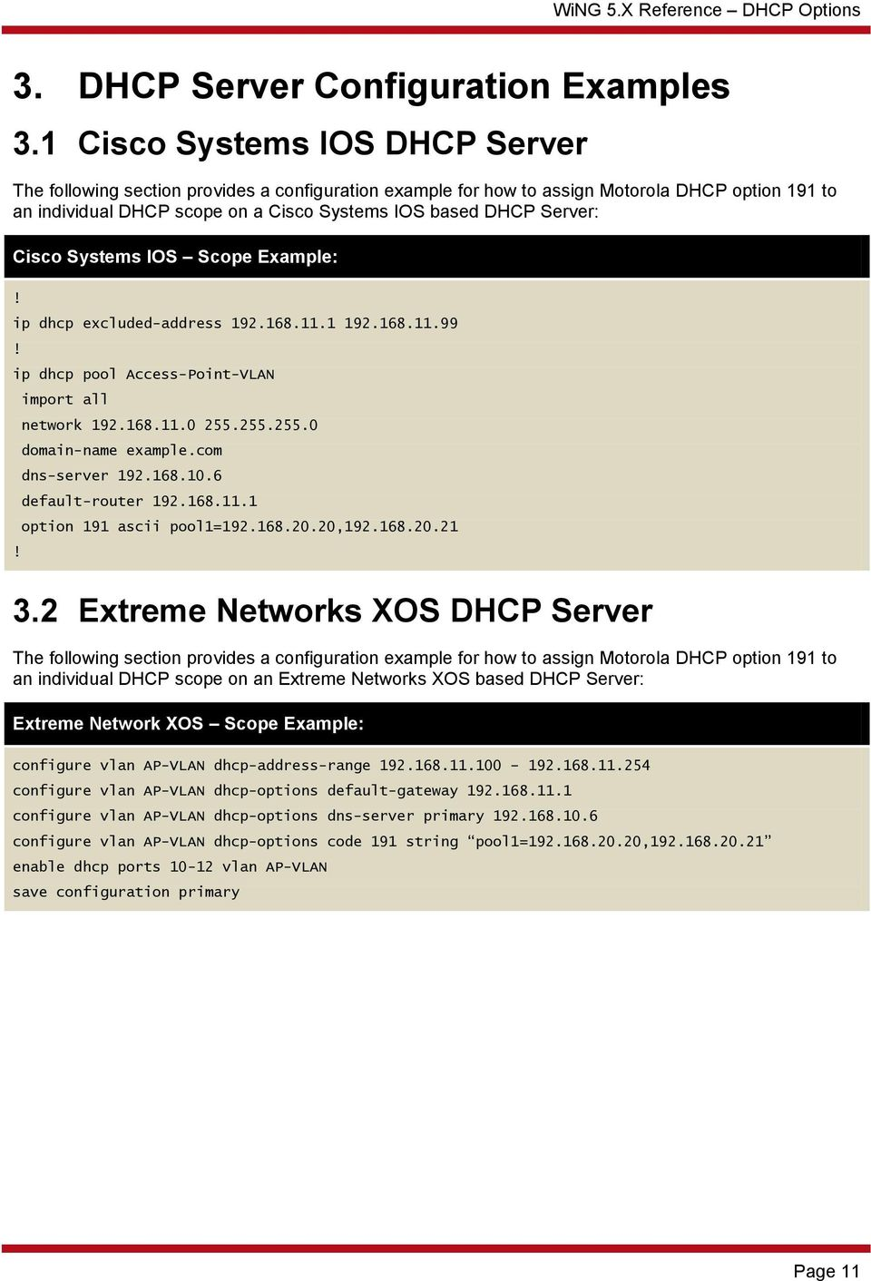 WiNG 5 X Reference  DHCP Options  Part No  TME REV A - PDF