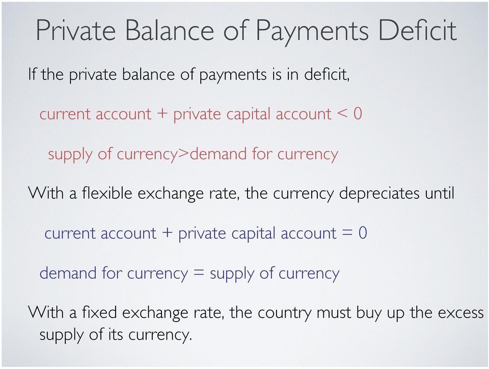 the currency depreciates until current account + private capital account = 0 demand for currency =