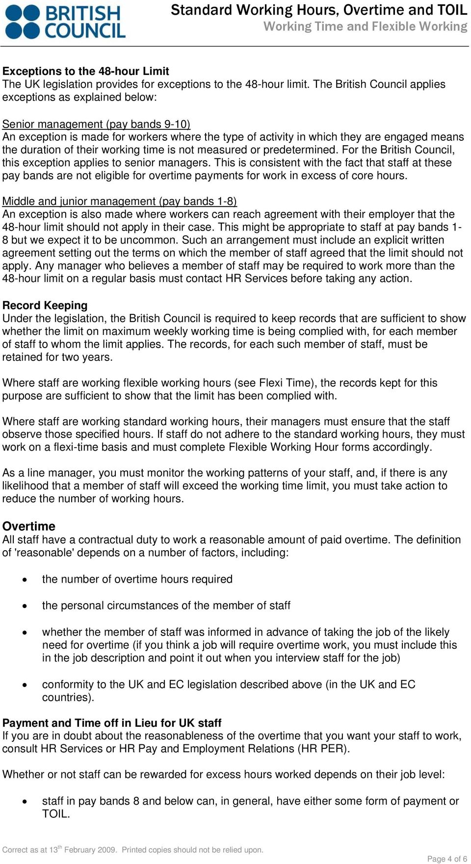 Standard Working Hours, Overtime and TOIL - PDF