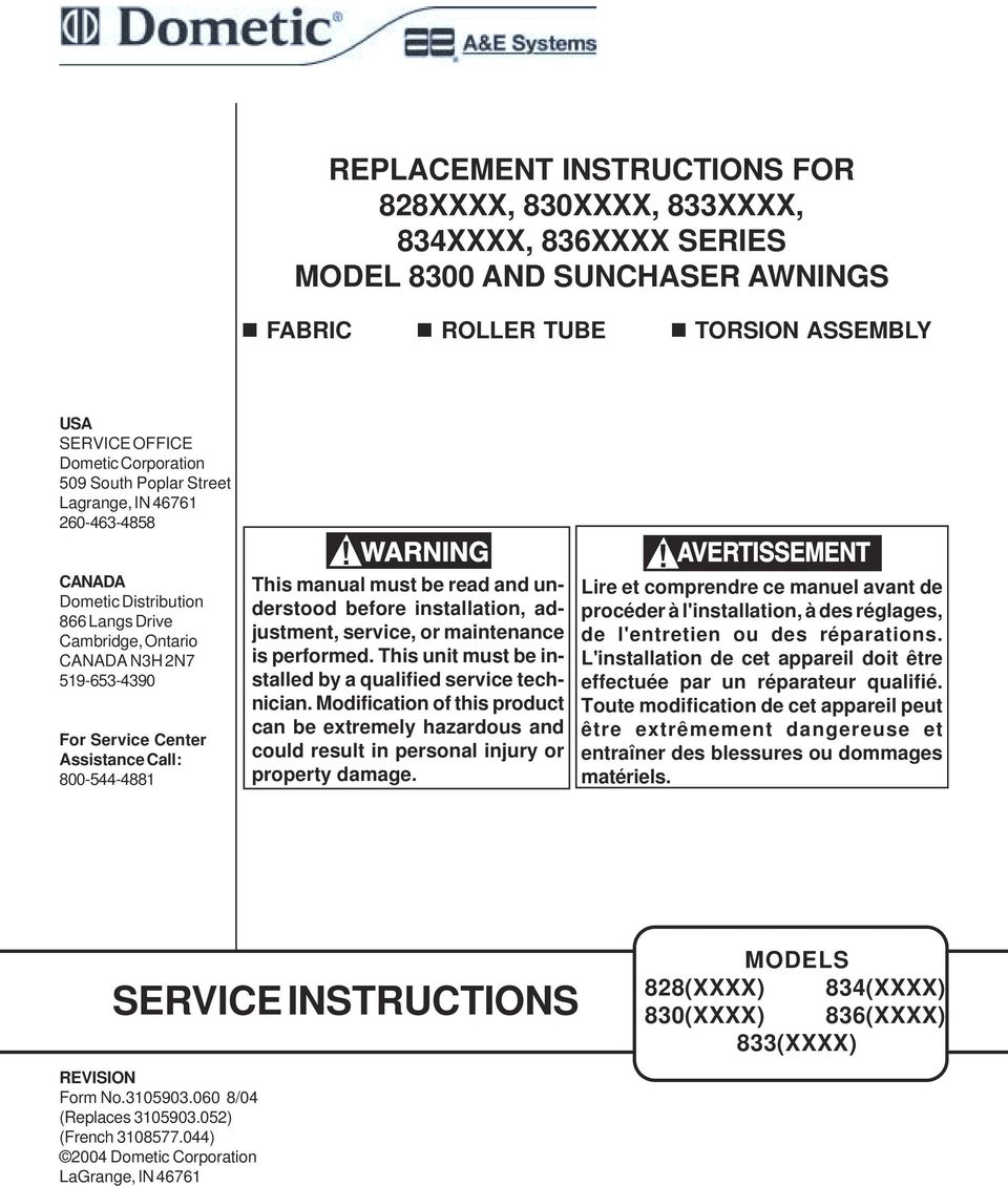 SERVICE INSTRUCTIONS REPLACEMENT INSTRUCTIONS FOR 828XXXX