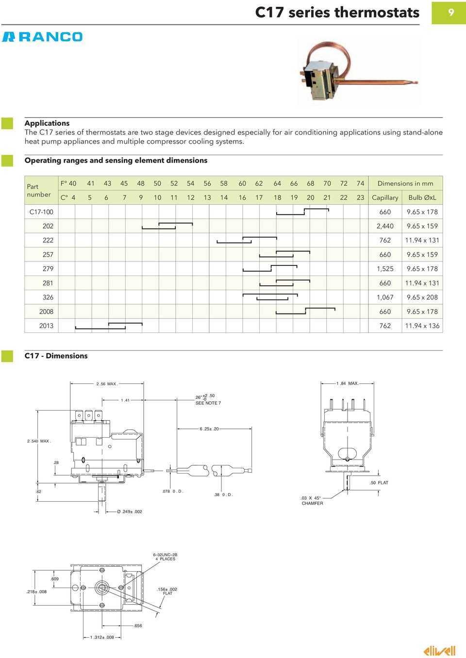 Product Catalogue 2012 13 Electromechanical Controllers Pdf K59 Thermostat Wiring Diagram Operating Ranges And Sensing Element Dimensions Part Number F 40 41 43 45 48 50 52