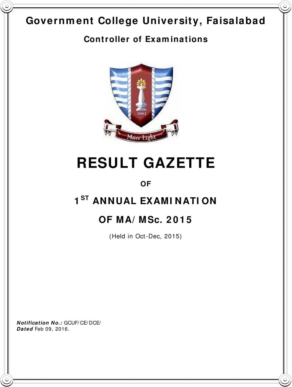 1ST ANNUAL EXAMINATION OF - PDF