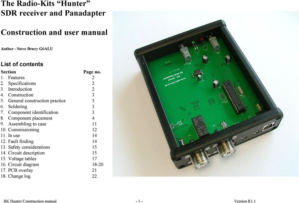 The Radio-Kits Hunter SDR receiver and Panadapter  Construction and